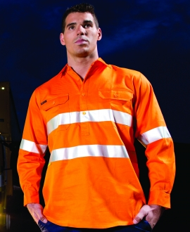 JB's Hi Vis (D+N) Close Front L/S Shirt 190G
