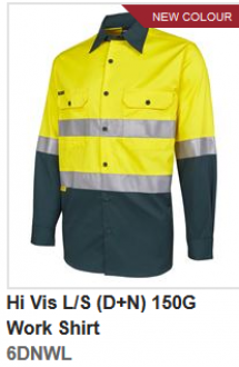 JBs Hi Vis Long Sleeve (D+N) 150g Work Shirt