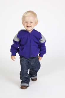 Kids Shoulder Contrast Panel Hoodie with Zipper