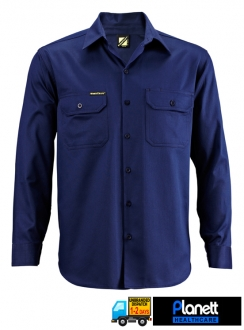 LIGHTWEIGHT LONG SLEEVE COTTON DRILL SHIRT