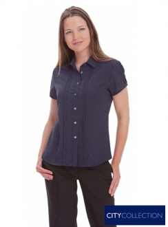 Ladies City Stretch Spot Shirt Cap Sleeve