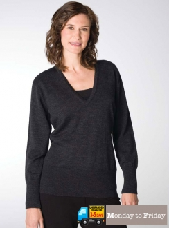 Ladies Extended V-Neck Pullover