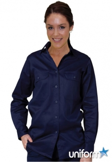 WT08 AIW Ladies Cotton Drill Work Shirt
