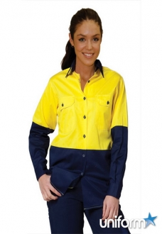SW64 Ladies Hi-Vis Cool-Breeze L/S Cotton Twill Shirt