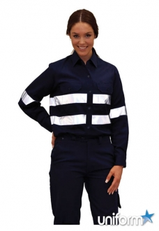 WT08HV AIW Ladies HiVis Cool-Breeze Cotton Twill Safety Shirt