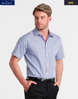 M7320S Mens Two Tone Gingham Shirt SS