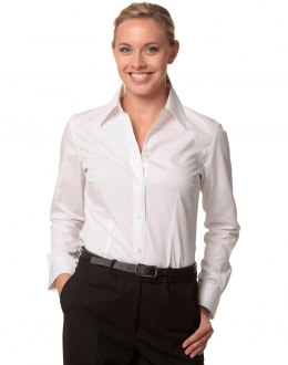 M8020Q Ladies Cotton/Poly Stretch 3/4 SS