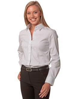 M8200L Ladies Ticking Stripe Shirt LS