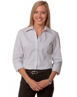M8200Q Ladies Ticking Stripe 3/4 Sleeve Shirt