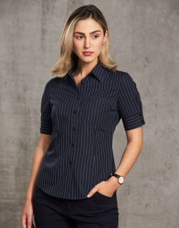 M8224 Women's Pin Stripe Short Sleeve Shirt