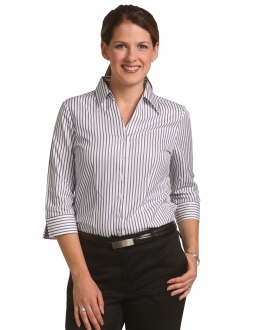 M8310Q Ladies Executive Sateen Stripe 3/4 Sleeve