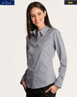 M8320L Ladies Two Tone Gingham Shirt LS