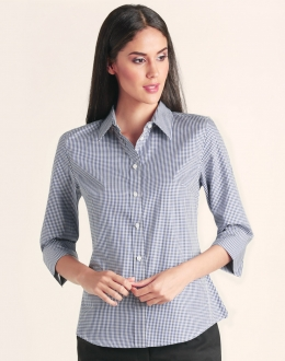M8320Q Ladies Two Tone Gingham Shirt 3/4 Sleeve
