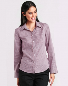 M8340L Ladies Two Tone Mini Gingham Shirt LS
