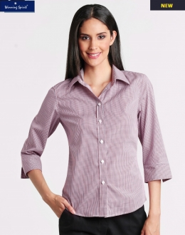M8340Q Ladies Two Tone Mini Gingham 3/4 Sleeve