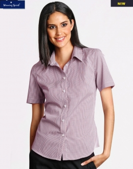 M8340S Ladies Two Tone Mini Gingham Shirt SS