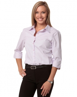 M8360Q Ladies Mini Check Shirt 3/4 Sleeve