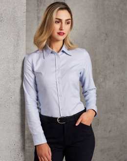 M8922 Ladies Dot Contrast Shirt LS