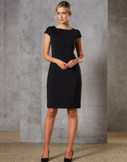 M9281 Ladies Wool Blend Stretch Cap Sleeve Dress