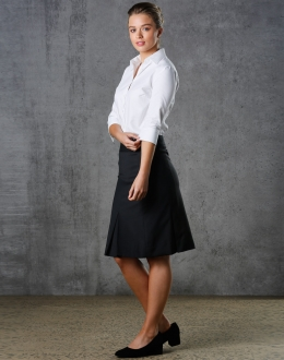 M9473 Ladies Pleated Wool Blend Stretch Skirt