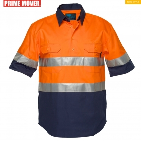 MC102 Hi-Vis Two Tone Regular Weight Short Sleeve Closed Front Shirt with Tape