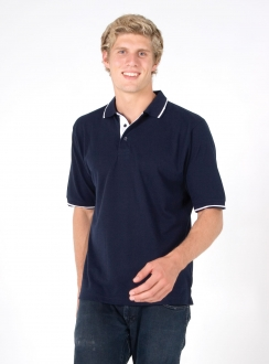 Mens One Stripe Trim Polo