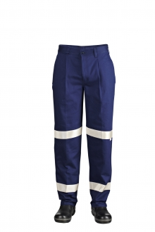 SINGLE PLEAT COTTON DRILL TROUSER WITH 3M REFLECTIVE TAPE