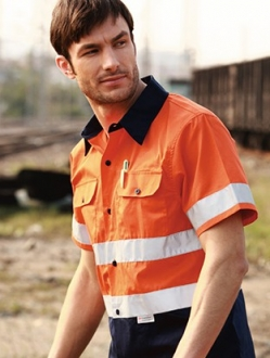 SS1231 Hi Vis Cotton Drill Short Sleeve Unisex