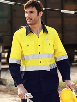 SS1232 Hi Vis Cotton drill shirt Long sleeve