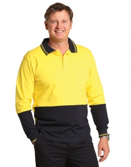 SW36L Two Tone Safety Polo LS Larger Size