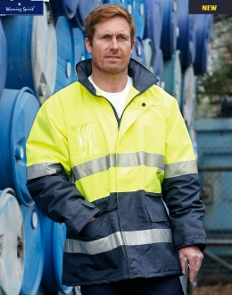 SW50 HiVis Polar Fleece Long Line Jacket with Tape
