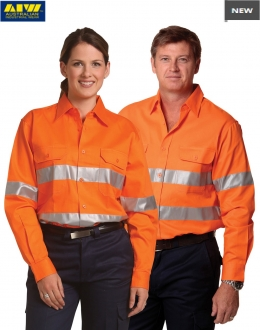 SW52 HiVis Cotton Drill Safety Shirt Long Sleeve
