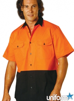 HiVis Cool-Breeze S/S Cotton Work Shirt - large sizes