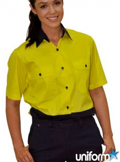 SW63 Ladies' HiVis Cool-Breeze Cotton Twill Safety Shirt