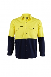Vented Light Weight Two tone L/S Hi Vis Shirt