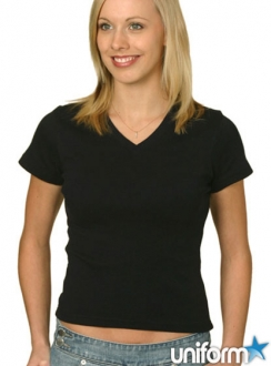 Ladies V-Neck Rib Short Sleeve Tee